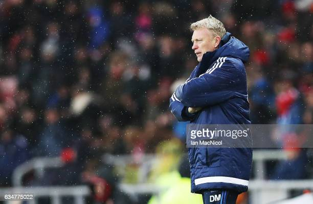 Sunderland manager David Moyes is seen during the Premier League match between Sunderland and Southampton at Stadium of Light on February 11 2017 in...