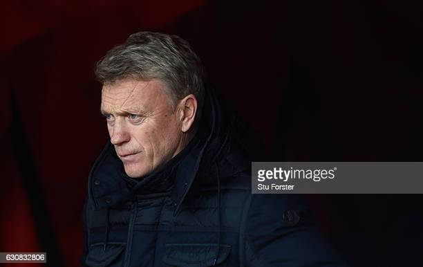 Sunderland manager David Moyes looks on before the Premier League match between Sunderland and Liverpool at Stadium of Light on January 2 2017 in...