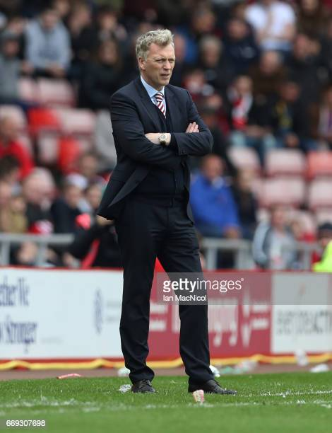 Sunderland manager David Moyes looks on during the Premier League match between Sunderland and West Ham United at Stadium of Light on April 15 2017...