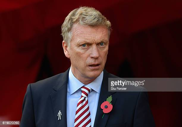 Sunderland manager David Moyes reacts during the Premier League match between Sunderland and Arsenal at Stadium of Light on October 29 2016 in...
