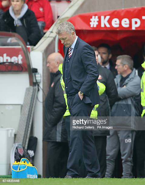 Sunderland manager David Moyes shows his dejection as his side face relegation during the Premier League match at the Stadium of Light Sunderland