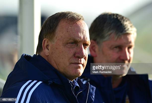 Sunderland Manager Dick Advocaat watches on during a pre season friendly between Darlington and Sunderland at Heritage Park on July 9 2015 in Bishop...