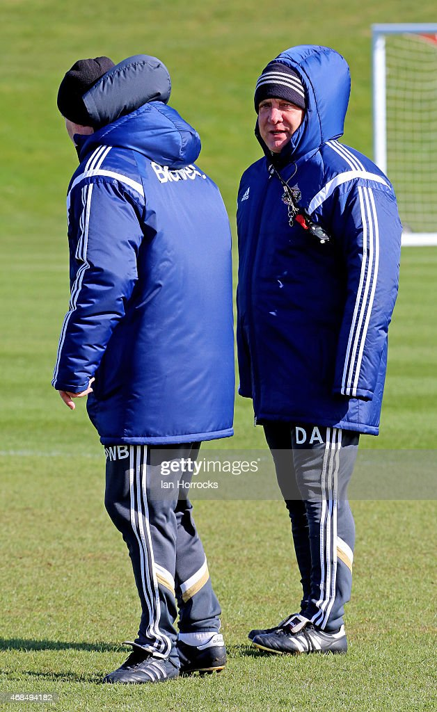 Sunderland manager Dick Advocaat with coach Paul Bracewell during a Sunderland training session at the Academy of Light on April 03 2015 in...