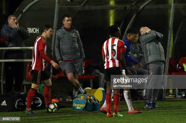 Sunderland manager Elliot Dickman reacts after a missed chance during the Premier League 2 match between Sunderland U23 and Manchester United U23 at...
