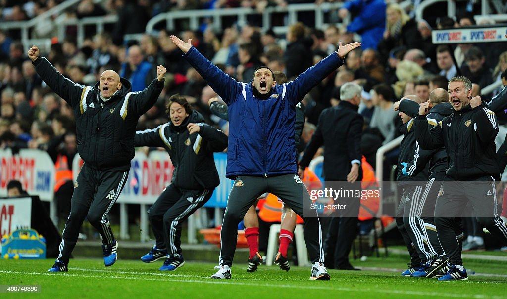 Sunderland manager Gus Poyet celebrates the opening goal during the Barclays Premier League match between Newcastle United and Sunderland at St James' Park on December 21, 2014 in Newcastle upon Tyne, England.