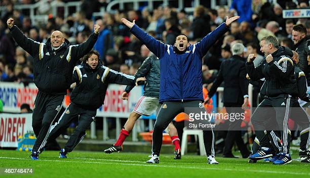Sunderland manager Gus Poyet celebrates the opening goal during the Barclays Premier League match between Newcastle United and Sunderland at St...