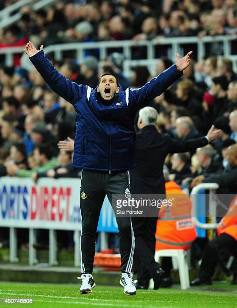 Sunderland manager Gus Poyet celebrates the winning goal during the Barclays Premier League match between Newcastle United and Sunderland at St...