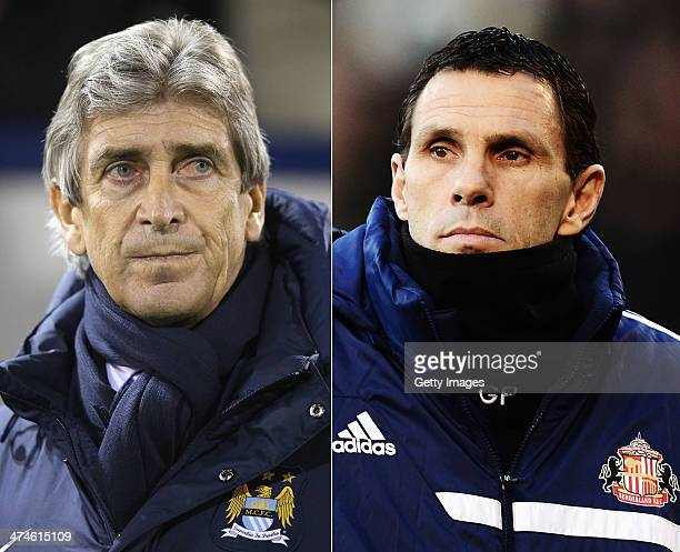 IMAGES Image Numbers 453706157 and 461787467 In this composite image a comparison has been made between Manuel Pellegrini manager of Manchester City...
