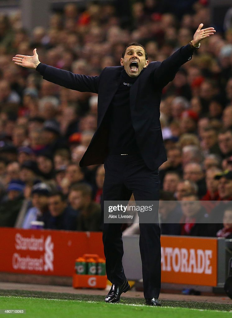 Sunderland Manager Gus Poyet reacts during the Barclays Premier League match between Liverpool and Sunderland at Anfield on March 26, 2014 in Liverpool, England.
