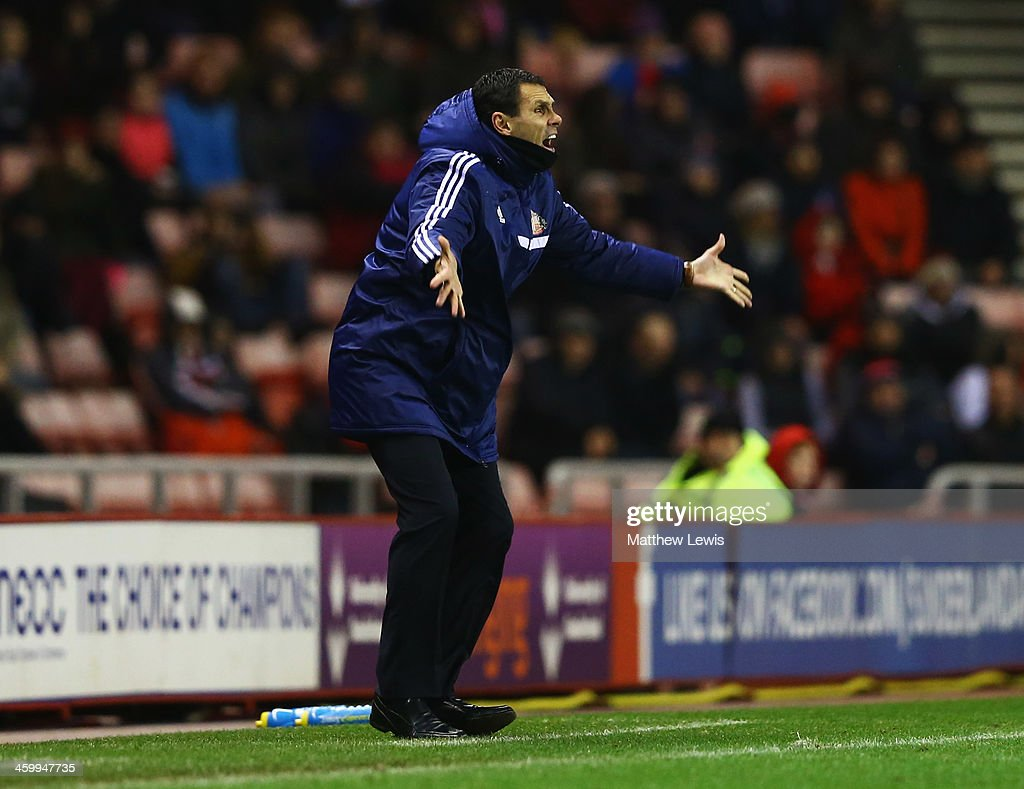 Sunderland manager <a gi-track='captionPersonalityLinkClicked' href=/galleries/search?phrase=Gustavo+Poyet&family=editorial&specificpeople=227352 ng-click='$event.stopPropagation()'>Gustavo Poyet</a> reacts during the Barclays Premier League match between Sunderland and Aston Villa at Stadium of Light on January 1, 2014 in Sunderland, England.