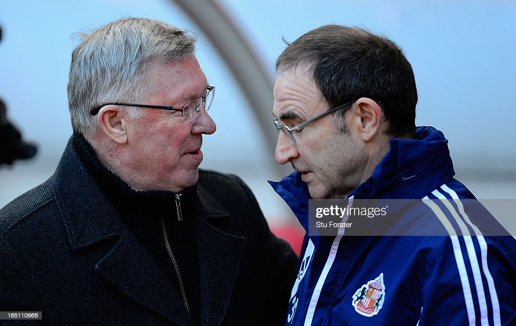 Sunderland manager Martin O' Neill (r) chats with Sir <a gi-track='captionPersonalityLinkClicked' href=/galleries/search?phrase=Alex+Ferguson&family=editorial&specificpeople=203067 ng-click='$event.stopPropagation()'>Alex Ferguson</a> before the Barclays Premier League match between Sunderland and Manchester United at Stadium of Light on March 30, 2013 in Sunderland, England.
