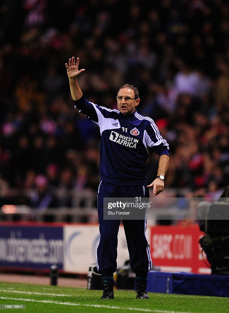 Sunderland manager Martin O' Neill reacts during the Premier League match between Sunderland and Reading at Stadium of Light on December 11, 2012 in Sunderland, England.
