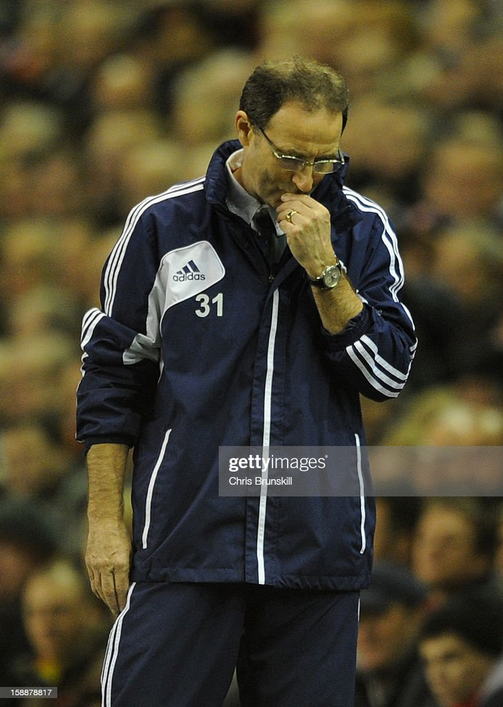 Sunderland Manager Martin O'Neill looks dejected during the Barclays Premier League match between Liverpool and Sunderland at Anfield on January 2, 2013 in Liverpool, England.