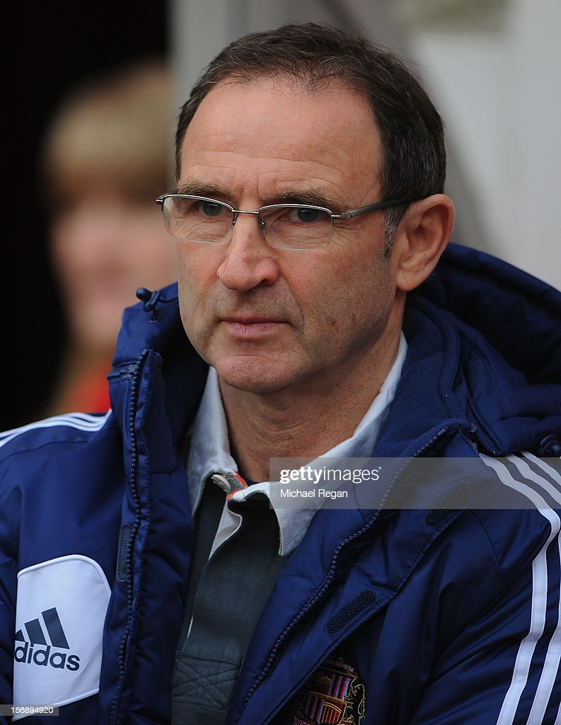 Sunderland manager <a gi-track='captionPersonalityLinkClicked' href=/galleries/search?phrase=Martin+O%27Neill&family=editorial&specificpeople=201190 ng-click='$event.stopPropagation()'>Martin O'Neill</a> looks on during the Barclays Premier League match between Sunderland and West Bromwich Albion at the Stadium of Light on November 24, 2012 in Sunderland, England.