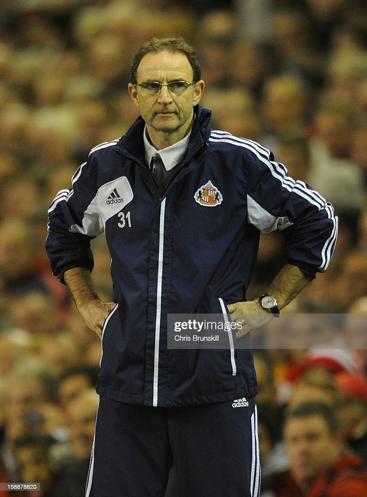 Sunderland Manager Martin O'Neill looks on during the Barclays Premier League match between Liverpool and Sunderland at Anfield on January 2, 2013 in Liverpool, England.