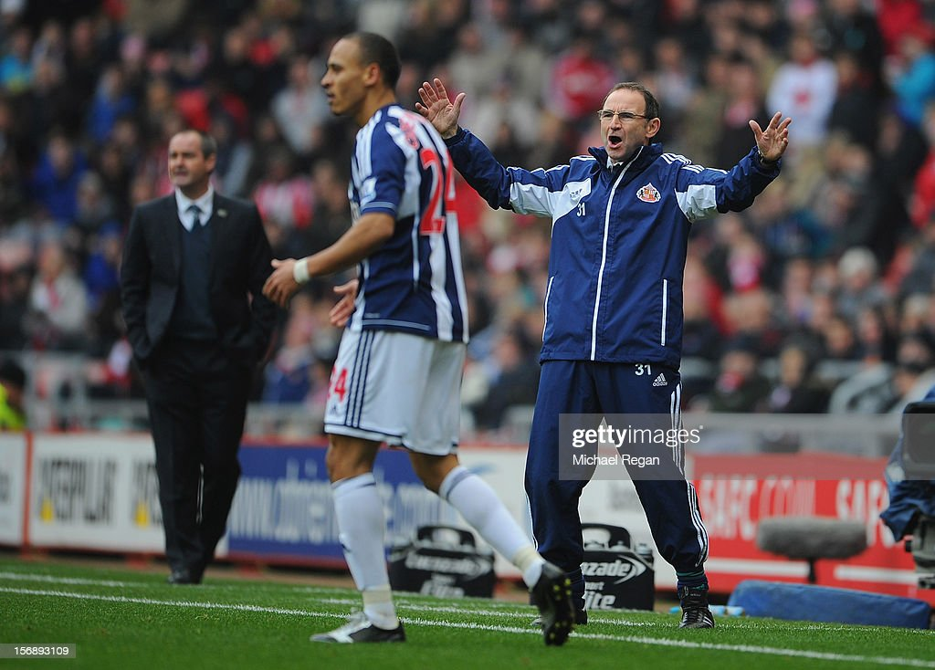Sunderland manager <a gi-track='captionPersonalityLinkClicked' href=/galleries/search?phrase=Martin+O%27Neill&family=editorial&specificpeople=201190 ng-click='$event.stopPropagation()'>Martin O'Neill</a> reacts during the Barclays Premier League match between Sunderland and West Bromwich Albion at the Stadium of Light on November 24, 2012 in Sunderland, England.
