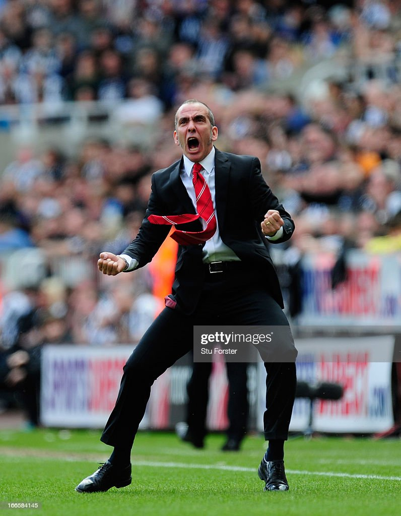 Sunderland manager Paolo Di Canio celebrates the first Sunderland goal during the Barclays Premier League match between Newcastle United and...