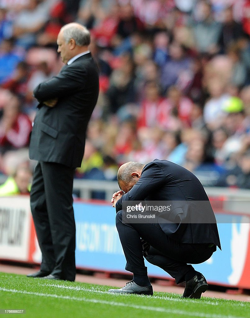 Sunderland manager <a gi-track='captionPersonalityLinkClicked' href=/galleries/search?phrase=Paolo+Di+Canio&family=editorial&specificpeople=215237 ng-click='$event.stopPropagation()'>Paolo Di Canio</a> looks dejected during the Barclays Premier League match between Sunderland and Fulham at the Stadium of Light on August 17, 2013 in Sunderland, England.