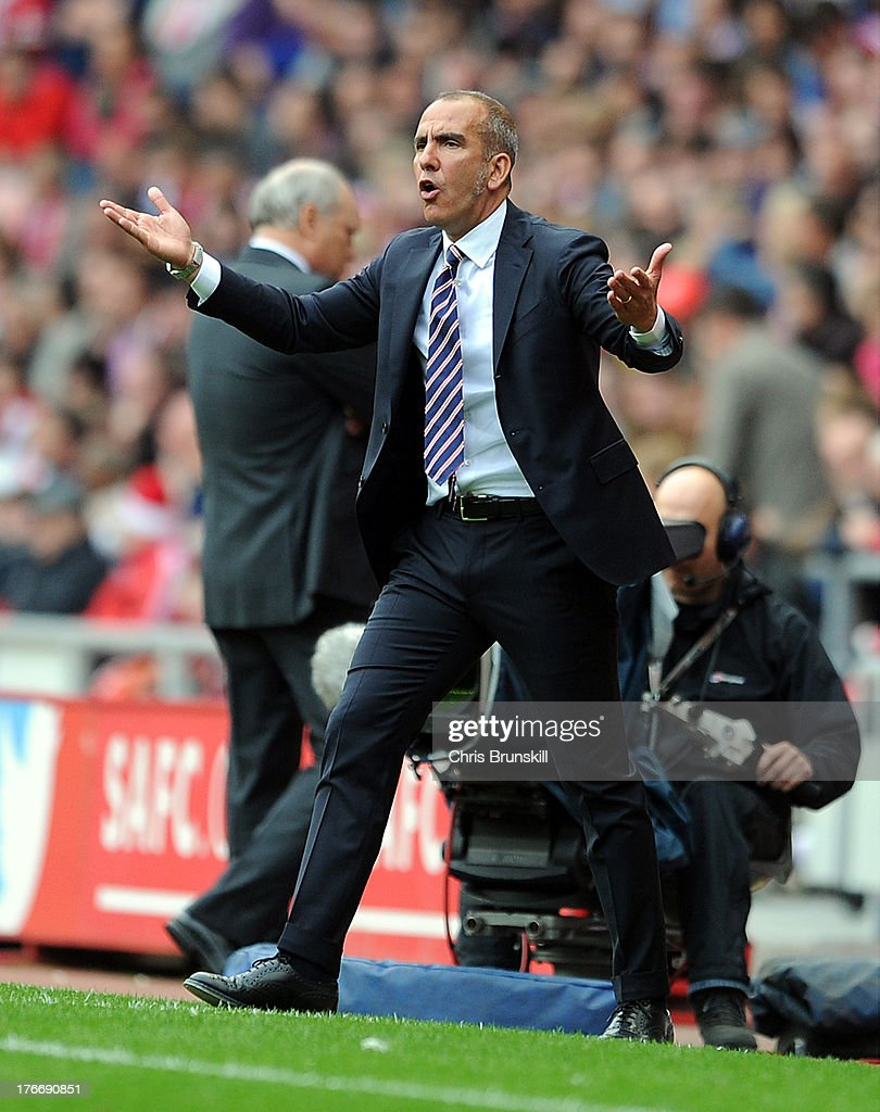 Sunderland manager <a gi-track='captionPersonalityLinkClicked' href=/galleries/search?phrase=Paolo+Di+Canio&family=editorial&specificpeople=215237 ng-click='$event.stopPropagation()'>Paolo Di Canio</a> reacts during the Barclays Premier League match between Sunderland and Fulham at the Stadium of Light on August 17, 2013 in Sunderland, England.