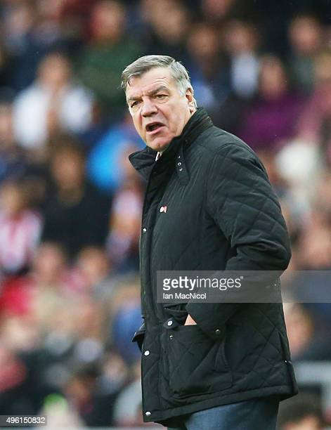 Sunderland manager Sam Alardyce looks on during the Barclays Premier League match between Sunderland and Southampton at The Stadium of Light on...
