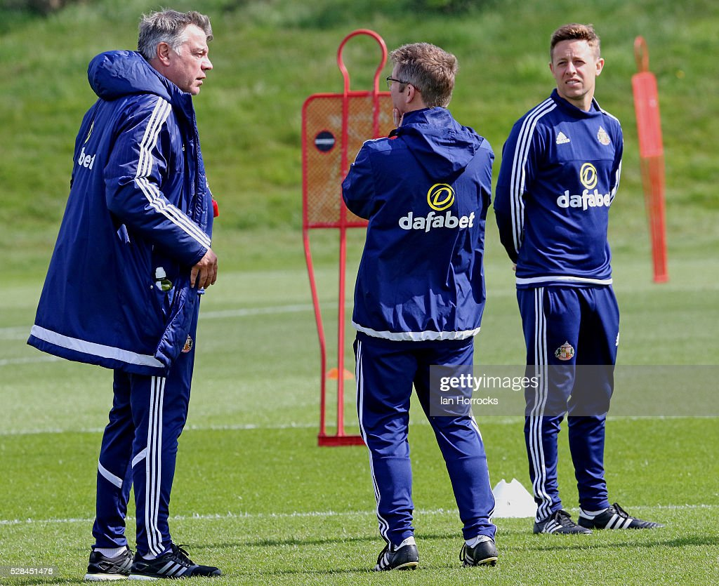 Sunderland manager Sam Allardyce chats to staff during a Sunderland training session at The Academy of Light on May 5, 2016 in Sunderland, England.