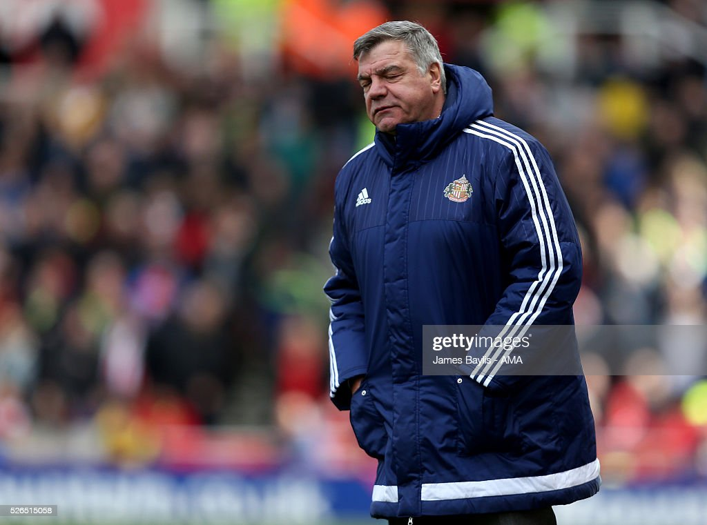 Sunderland manager Sam Allardyce during the Barclays Premier League match between Stoke City and Sunderland at Britannia Stadium on April 30, 2016 in Stoke on Trent, England