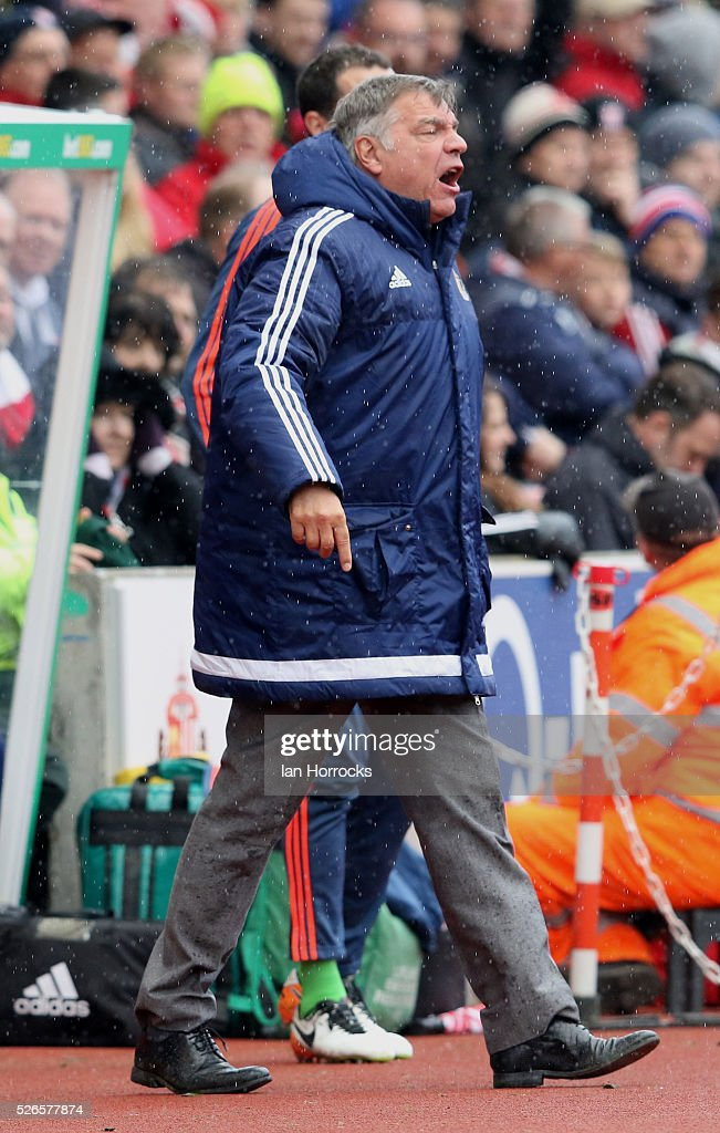 Sunderland manager Sam Allardyce during the Barclays Premier League match between Stoke City and Sunderland at The Britannia Stadium on April 30, 2016 in Stoke on Trent , England.