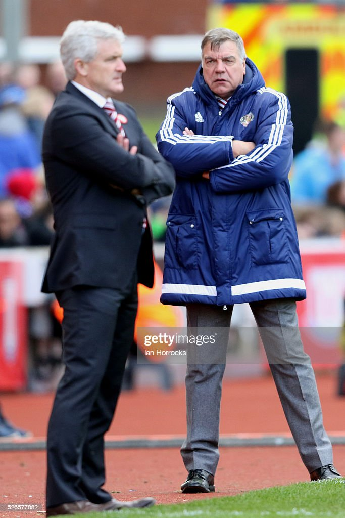 Sunderland manager Sam Allardyce (R) during the Barclays Premier League match between Stoke City and Sunderland at The Britannia Stadium on April 30, 2016 in Stoke on Trent , England.