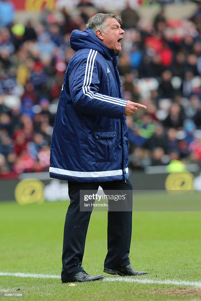 Sunderland manager Sam Allardyce during the Barclays Premier match between Sunderland and Manchester United at the Stadium of Light on February 13, 2016 in Sunderland, England.
