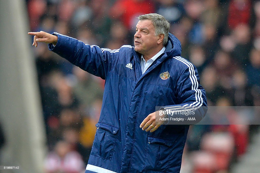 Sunderland Manager Sam Allardyce gestures during the Barclays Premier League match between Sunderland and West Bromwich Albion at Stadium of Light on April 2, 2016 in Sunderland, England.