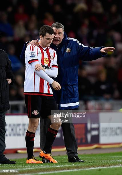 Sunderland manager Sam Allardyce gives some advice to striker Adam Johnson during the Barclays Premier League match between Sunderland and Manchester...