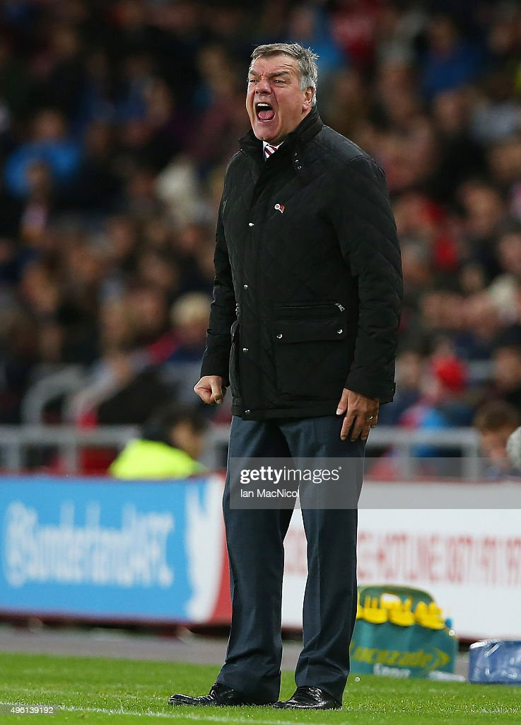Sunderland manager <a gi-track='captionPersonalityLinkClicked' href=/galleries/search?phrase=Sam+Allardyce&family=editorial&specificpeople=214691 ng-click='$event.stopPropagation()'>Sam Allardyce</a> reacts during the Barclays Premier League match between Sunderland and Southampton at The Stadium of Light on November 7, 2015 in Sunderland, England.