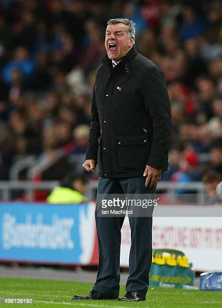 Sunderland manager Sam Allardyce reacts during the Barclays Premier League match between Sunderland and Southampton at The Stadium of Light on...