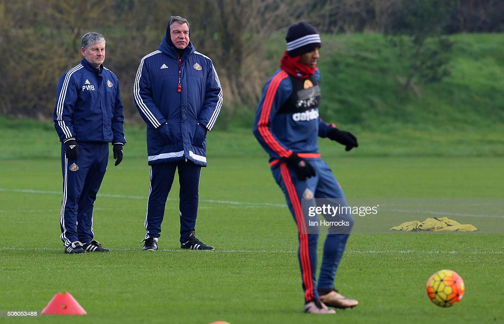 Sunderland manager Sam Allardyce watches his players with assistant Paul Bracewell during a Sunderland AFC Training Session at The Academy of Light...