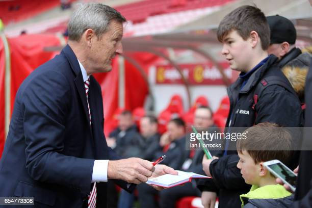 Sunderland owner Ellis Short sign autographs before the Premier League match between Sunderland and Burnley at Stadium of Light on March 18 2017 in...