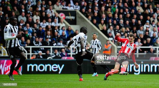 Sunderland player Adam Johnson scores the second goal during the Barclays Premier League match between Newcastle United and Sunderland at St James'...