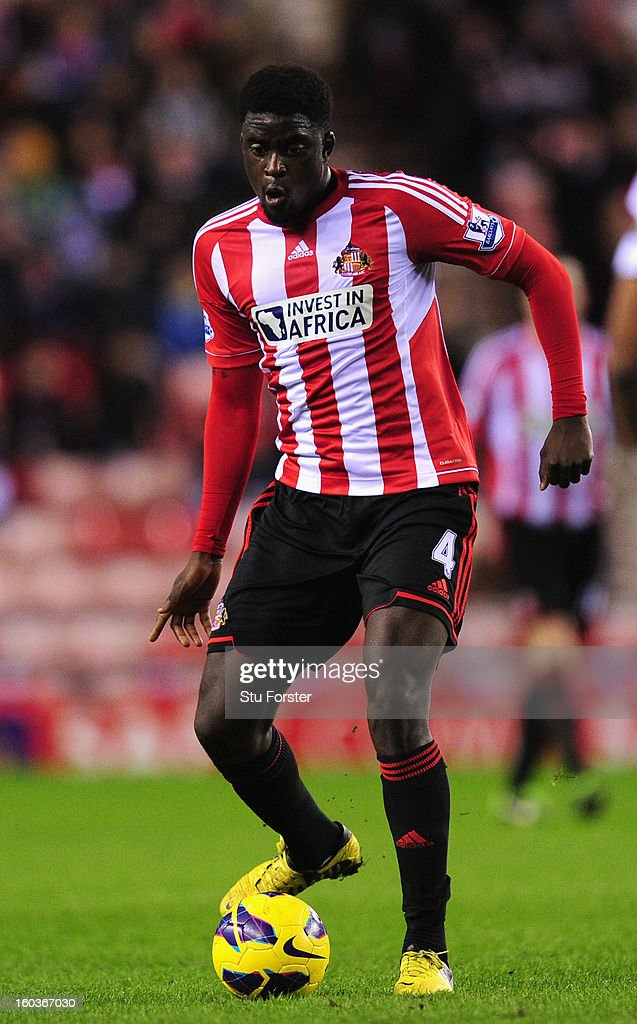 Sunderland player <a gi-track='captionPersonalityLinkClicked' href=/galleries/search?phrase=Alfred+N%27Diaye&family=editorial&specificpeople=5553791 ng-click='$event.stopPropagation()'>Alfred N'Diaye</a> in action during the Barclays Premier League match between Sunderland and Swansea City at Stadium of Light on January 29, 2013 in Sunderland, England.