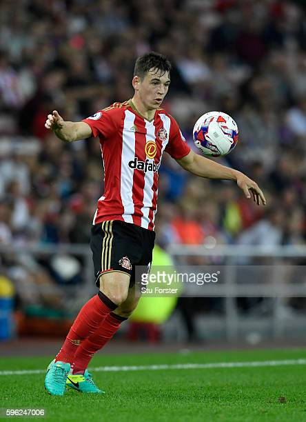 Sunderland player Donald Love in action during the EFL Cup Round Two match between Sunderland and Shrewsbury Town at Stadium of Light on August 24...