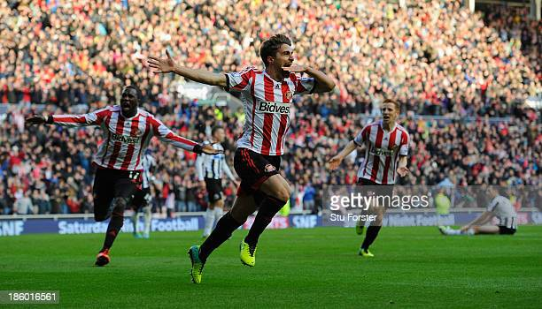 Sunderland player Fabio Borini celebrates his winning goal during the Barclays Premier League match between Sunderland and Newcastle United at...
