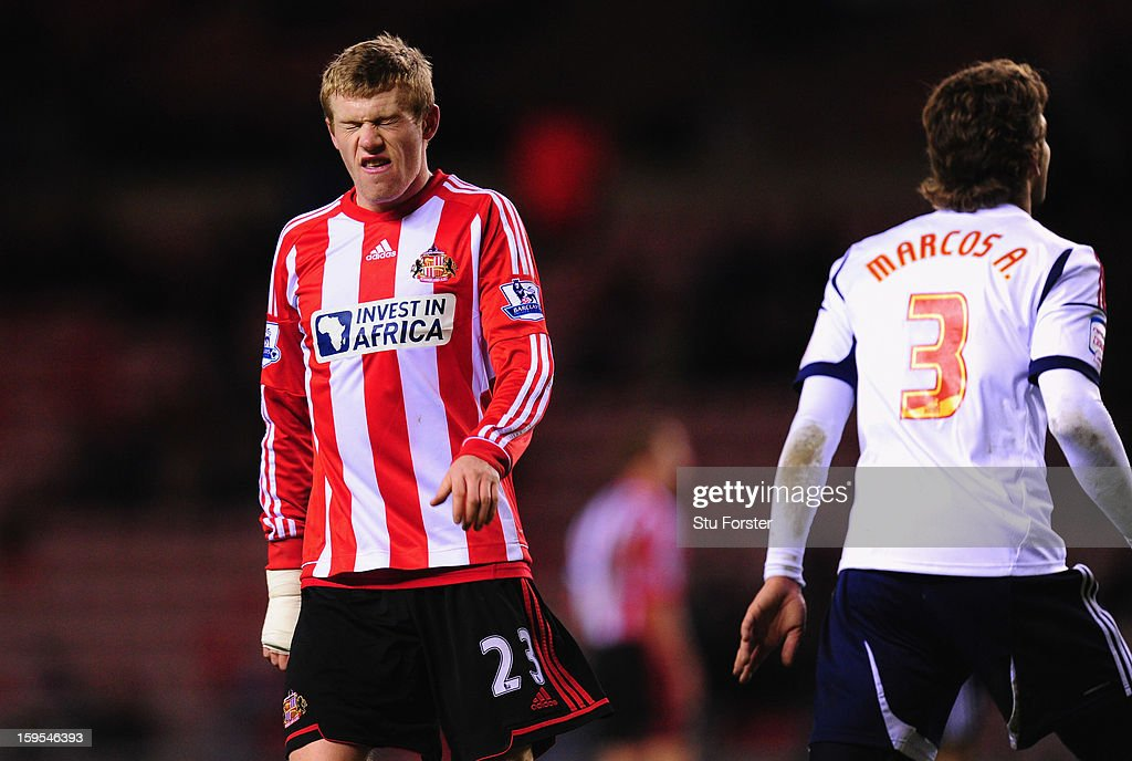 Sunderland player James McClean reacts after a miss during the FA Cup Third Round Replay between Sunderland and Bolton Wanderers at Stadium of Light on January 15, 2013 in Sunderland, England.