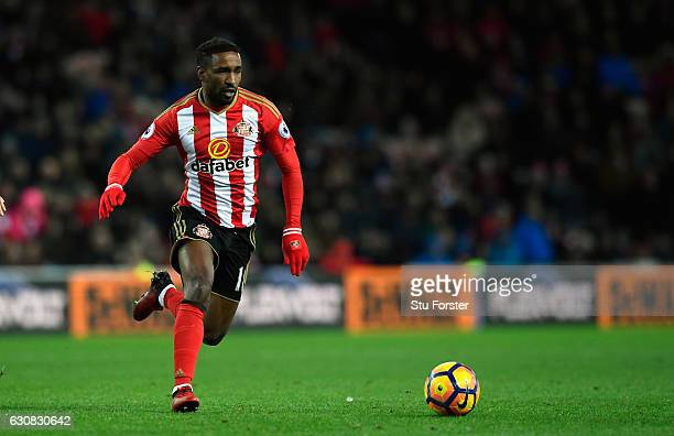 Sunderland player Jermain Defoe in action during the Premier League match between Sunderland and Liverpool at Stadium of Light on January 2 2017 in...