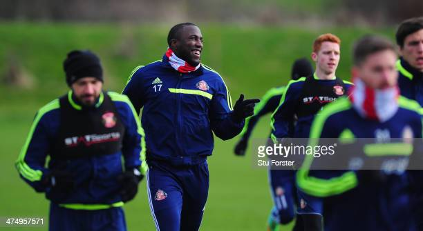 Sunderland player Jozy Altidore shares a joke with his team mates during Sunderland training ahead of sunday's Capital One Cup Final against...