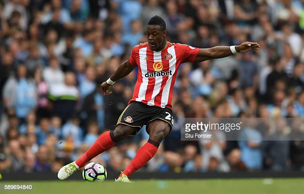Sunderland player Lamine Kone in action during the Premier League match between Manchester City and Sunderland at Etihad Stadium on August 13 2016 in...