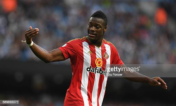 Sunderland player Lamine Kone reacts during the Premier League match between Manchester City and Sunderland at Etihad Stadium on August 13 2016 in...