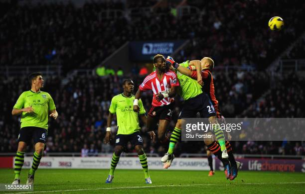 Sunderland player Louis Saha heads wide during the Barclays Premier League Match between Sunderland and Aston Villa at Stadium of Light on November 3...