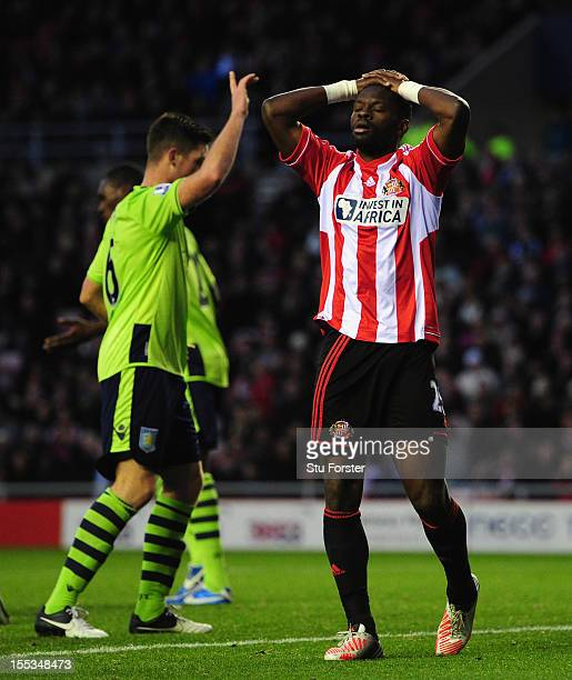 Sunderland player Louis Saha reacts after heading wide during the Barclays Premier League Match between Sunderland and Aston Villa at Stadium of...