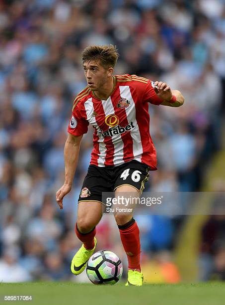 Sunderland player Lynden Gooch in action during the Premier League match between Manchester City and Sunderland at Etihad Stadium on August 13 2016...