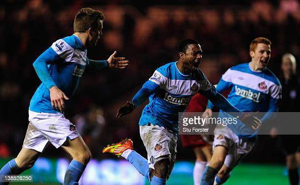 Sunderland player Stephane Sessegnon celebrates his goal during the FA Cup Fourth Round Replay between Middlesbrough and Sunderland at Riverside...
