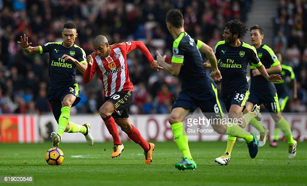 Sunderland player Wahbi Khazri makes a break during the Premier League match between Sunderland and Arsenal at Stadium of Light on October 29 2016 in...
