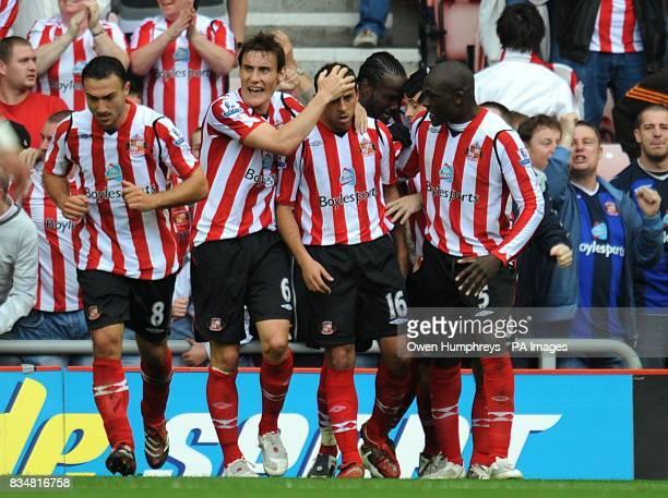 Sunderland players celebrate Michael Chopra's goal